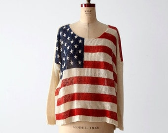 SALE American flag knit top, vintage light weight sweater