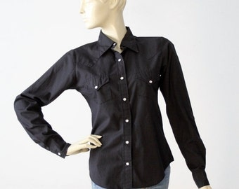 SALE vintage black western shirt, women's snap up shirt