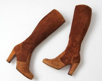 vintage 70s tall suede boots, high heeled boho leather boots, sz 7