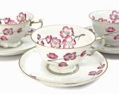 Cherry Blossums Tea Cup & Saucer Set / SET of 4 / Heinrick and Co. / Fine China / c1940s