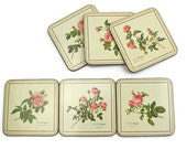 Pimpernel Drink Coasters / SET of 6 / Redouté Rose / Boxed Set / Made in England / Rose Illustrations / c1980s