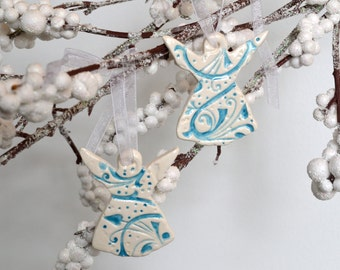 Ceramic Angel Ornaments, Imprinted Turquoise on White, Set of Two 6514