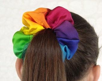 Silk Satin Rainbow Scrunchie