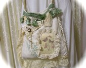 Country Chic Bag, shabbys chic vintage linen bag, handmade linen fabric bag, cottage farmhouse, french cottage chic, SMALL