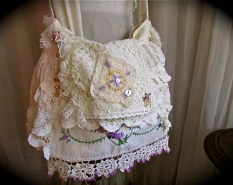 Vintage Linen Bag, crocheted doilies lace trimmings beads buttons, handmade shabby n chic romantic, layered laces shoulder bag