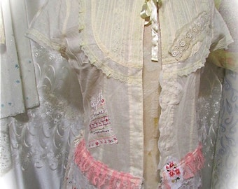 Victorian Bedroom Jacket, cream night coat, vintage shabby top, romantic delicate, altered lace top, lightweight cotton, bed coat, SMALL