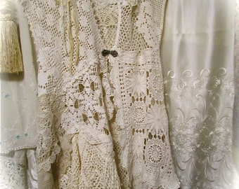Shabby Doily Dress Cover, lagenlook doily vest, layered romantic doilies clothing, shabby cottage chic SMALL MEDIUM