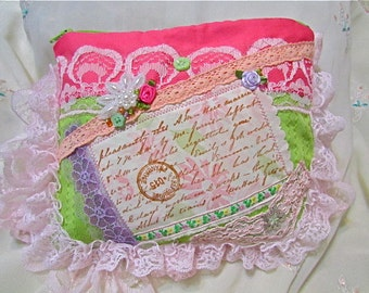 Pink Zipper Pouch, frilly pink lace, shabby and chic beads buttons embellished, make up cosmetic bag, pink lime coin purse, MEDIUM