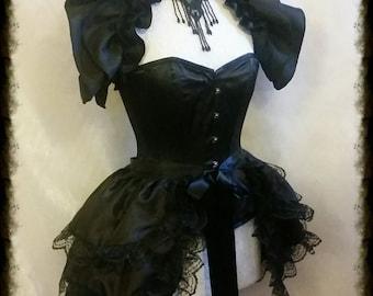 Halloween taffeta Bustle Skirt  and Shrug Set SWEET NOIR LOVE goth Steampunk Gothic