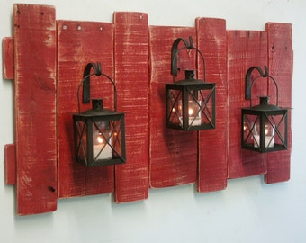 Pallet Wall Decor with Lanterns- Rustic decor, shabby chic decor, home decor,  cabin decor, large wall decor, large wall art