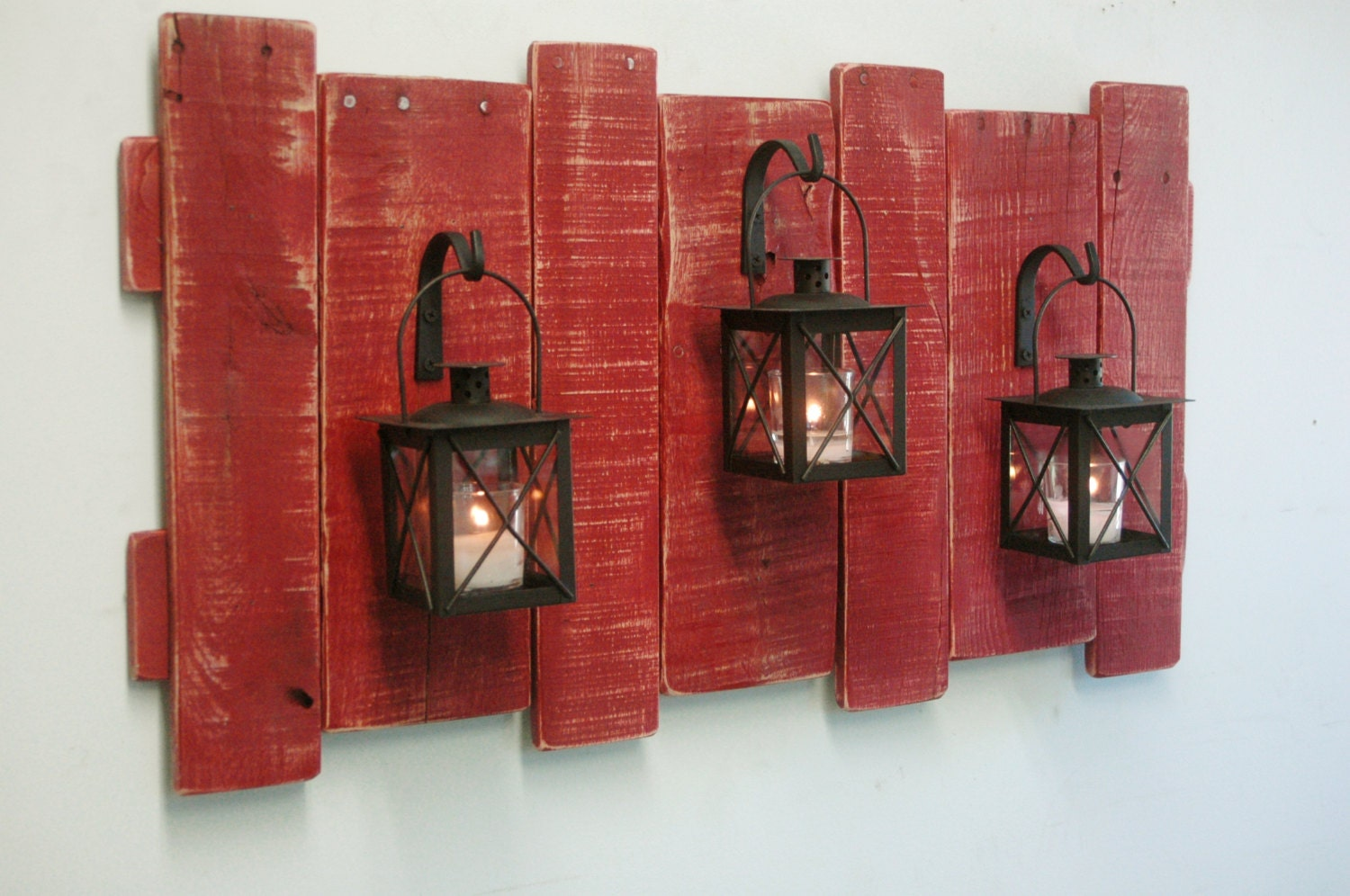 Pallet Wall Decor With Lanterns Rustic Decor Shabby Chic