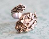 Antique Spoon Ring,Jewelry Gift, Cherry Blossom Flowers Ring,Owl Silver Spoon Ring, Ring,Antique Silver Ring,Wrapped,Adjustable,Bridesmaid.