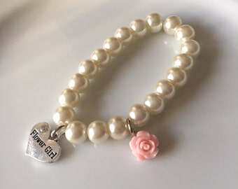 Flower girl bracelet with heart charm and pink rose - Flower girl jewelry - Bridal jewelry