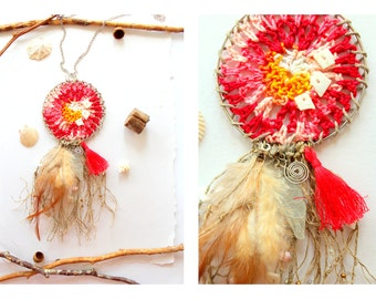 Dream catcher necklace red colors