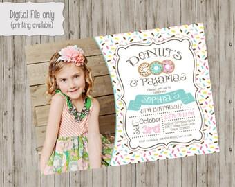 Donut and Pajamas Invitation, Donut Birthday Invite, Pajama Party Invitation, Photo birthday invitation