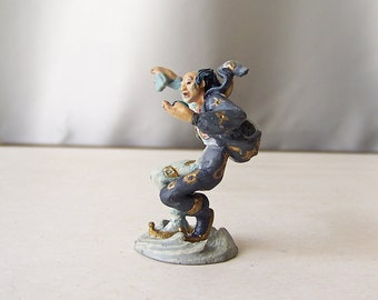 Vintage Yin and Yang Enchanted Mountain by Artist Michael Whelan Pewter 1989 Fantasy Figurine Xanth Franklin Mint Collection