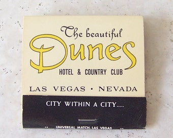 Vintage Dunes Hotel and Country Club Matchbook Las Vegas Strip Diamond Of The Dunes Nevada Resort Souvenir Mad Men NOS ca. 1981
