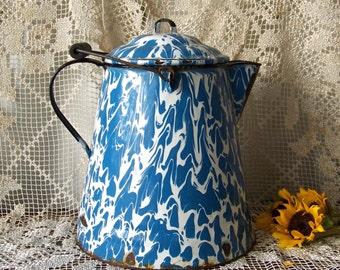Vintage Enamelware Large Coffee Pot Blue Swirl Graniteware Shabby Cottage Decor ca 1880