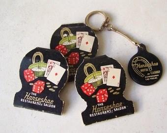 Vintage Horseshoe Hotel and Casino Matchbooks and Key Chain Downtown Las Vegas Souvenir Mad Men 1970s
