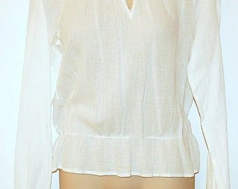 Vintage White Cotton Peasant Blouse