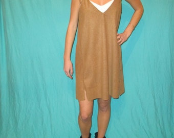 Suede Dress, Tan Suede Game Day Dress Tailgate in Style
