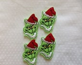 GRINCH - 4 Machine Embroidered Embellishments / Appliqués - Ready To Ship