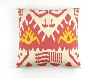ON SALE Quadrille Kazak Custom Pillows in Coral/New Yellow 22 X 22 on Linen/Cotton