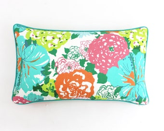 Lilly Pulitzer Heritage Floral Aqua/Orange with Contrasting Welting in Pulitzers Pride Seafoam