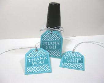 10 Aqua Blue White Nail Polish Thank You Tags - Breakfast at Tiff... Shower - Baby Shower Tags - Bridal Shower Tags - Small Tags