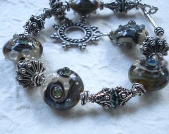 Beautiful Greens - Lampwork, Crystals and Bali Silver Bracelet