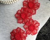 Vintage Applique - 4 pcs Red Flower Applique Trim (A305)