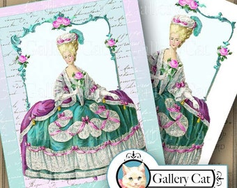 Instant Download MARIE ANTOINETTE Digital Collage Sheet Two Large Images Wall Art Iron on Transfer T Shirts Pillows Tote Bag GalleryCat #311