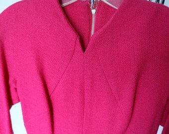 Vintage Wool Dress - Bright Pink - Gorgeous