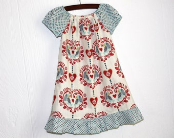 SALE. Traditional Christmas Nordic Hearts Birds boutique toddler and girls dress Size 3T