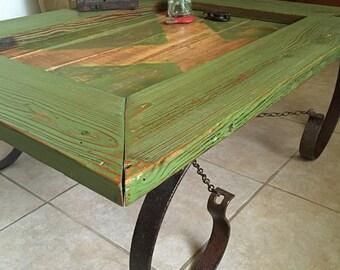 Barn Door Coffee Table. Reclaimed Barn Door Coffee Table.