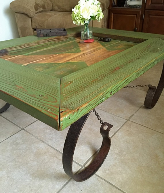 Items Similar To Barn Door Coffee Table Reclaimed Barn Door Coffee Table Green Barn Door
