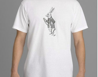 Alice in Wonderland T-shirt,  White Rabbit T-shirt,  Tim Burton Inspired, proceeds to Alzheimer's Association