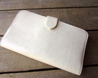 Cream Vegan Wallet Dead Stock Leatherette Wallet