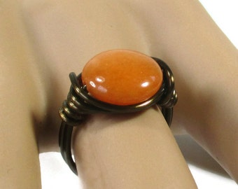 Fall Fashion Jewelry - Orange Quartz Ring - Boho Rings - Antique Brass Wire Wrapped Rings