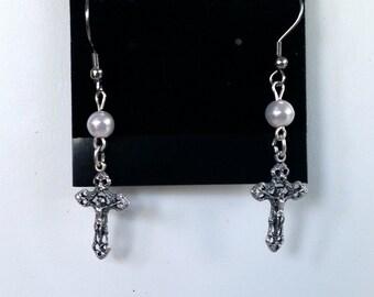 Silver Cross and Pearl Earrings - Crucifix Earrings