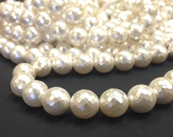 AA Grade 8 mm. White Mother of Pearl Faceted Round Beads - South Sea Shell - Full Strand 15.5 inches (G4111R24Q5)