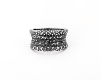 3 Tier Stainless Damascus Ring