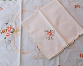Vintage 8 Placemats and 8 Napkins, Ecru Cotton Blend, Scalloped Edges, Coral and Gold Floral Embroidery