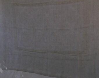 Vintage Linen Tablecloth and 6 Napkins, Ecru Linen Loose Weave Detail
