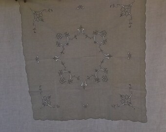 Vintage Cotton Tablecloth and 4 Napkins, Off White Cotton with Blue Cutwork and Embroidery