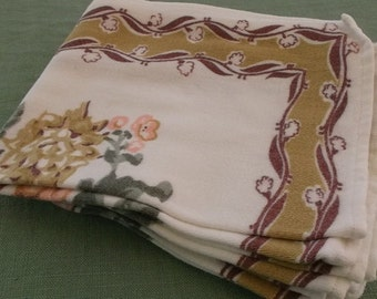 Vintage Napkins Soft Cotton Knit, 5 Napkins,Gold and Brown Border with Peach, Gold and Green Floral