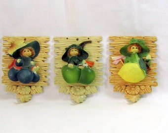 Vintage Elf Children and Fruit 1960s Plastic Wall Decor