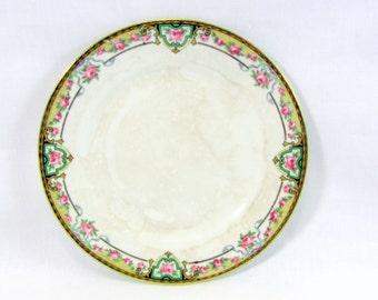 1920s Bread Plate Homer Laughlin Georgian Eggshell Pink Roses and Gold Trim