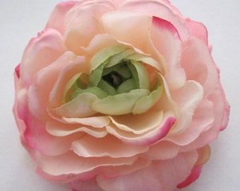 """3.5"""" Blush Pink Fuchsia Ranunculus Silk Flower Hair Clip"""