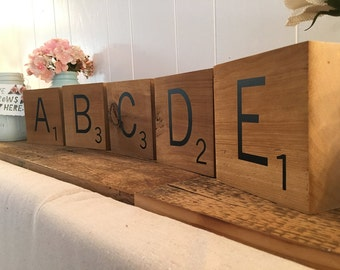 Scrabble Tiles Large Super Thick Letters Jumbo Size  Tile Personalize Customize Your Name Oversized Letter Home Decor Photo Prop Wedding